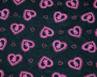 vintage 80s cotton knit fabric featuring cute heart print, 1 yard, 27 inches