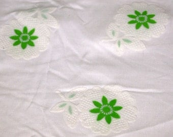 vintage 70s novelty print fabric, featuring pretty flocked flower design, 1 yard, 19 inches