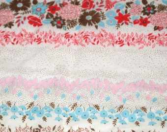 vintage 70s cotton fabric, featuring great floral and stripe print design, 1 yard, 2 available priced PER YARD