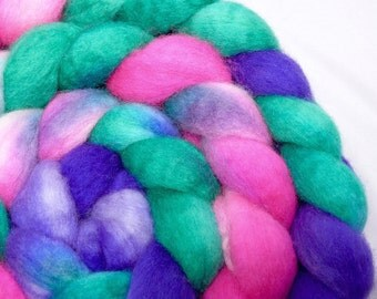 SALE 25 PERCENT OFFHand Dyed Blue Faced Leicester BFL Wool Top Roving for Spinning and Felting- Calypso