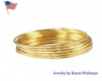 Stack Set Five 2MM Bangles Pure SOLID 24K GOLD 58 Grams