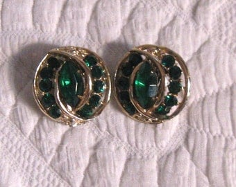 Emerald Earrings .  emerald Rhinestone Earrings