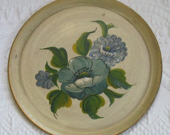 Tole Plate . Hand Painted Tole Plate . Blue Flower Tole Plate . Pilgrim Art . Blue Flower Metal Plate