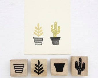 Rubber Stamp Set - Pots and Plants