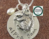 Alpha Gamma Delta Necklace with Squirrel Mascot - Sterling Silver Sorority Jewelry-Big Sis Lil Sis - Alpha Gam Jewelry