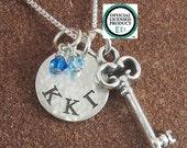 Kappa Kappa Gamma Necklace with Key- Sterling Silver Greek Letter Sorority Jewelry- Big Sis Lil Sis - Kappa Kappa Gamma Jewelry -OLP