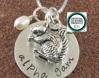 ΑΓΔ Necklace with Squirrel Mascot,Alpha Gamma Delta Sterling Silver Jewelry,ΑΓΔ Bid Day,Initiation/OLP