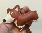 Small size - Nana the Corgi cowhide leather charm ( Brown )