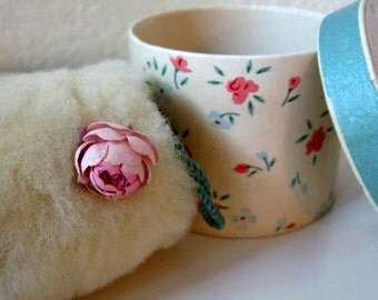 Beauty Muff Doll Sized Hat Box Hatbox with Rose Adorned Furry Hand Warmer