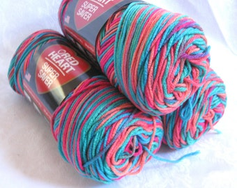 Red Heart Super Saver yarn  LAGOON,  worsted weight,  Economy sized, blue orange green turquoise pink, 3 balls RESERVED
