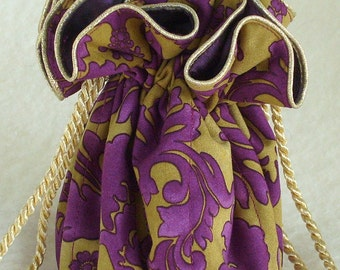 Jewelry Pouch, travel jewelry bag purple and gold damask