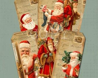 Instant Download  Old World Santa Hang Tags  - 2 X 4 inches  -  Printable Digital Collage Sheet - Digital Download