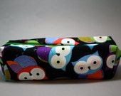 Boxy Makeup Bag - Colorful Owl Print Hooter Zipper - Pencil Pouch