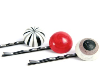 Hair Pins, Black Red White Eyeball Bobby Pins, Jewelry Accessories, Cute Girls Accessory for Hair
