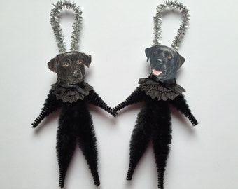LABRADOR RETRIEVER ornaments dog ORNAMENTS black lab ornaments vintage style chenille ornaments set of 2