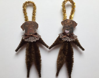 LABRADOR RETRIEVER ornaments dog ORNAMENTS chocolate lab ornaments vintage style chenille ornaments set of 2
