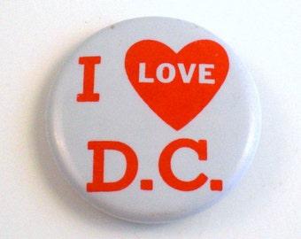Vintage I Love DC Metal Pinback Button I Heart DC Washington DC Memorabilia
