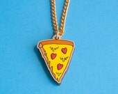 pizza lover necklace | laser cut wooden pendant