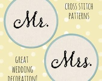 Mr. and Mrs. Cursive Wedding Script Cross Stitch Pattern PDF File