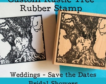 Tree Trunk Rustic Wedding Rubber Stamp // Custom Tree with Carved Initials Rubber Stamp  - Handmade by Blossom Stamps