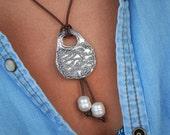 Beach Jewelry, Beach Necklace, Ocean Leather Necklace, Sterling Silver Ocean Waves Necklace, Beach Leather Necklace n Pearls, Leather Pearls