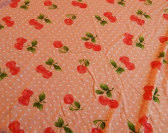 soft stretch fabric cherries 2.5 YARDS X 60 WIDE
