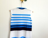 Striped 60s top | vintage 1960s nylon top  | 60s sleeveless shirt | deadstock