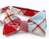 red & robins egg blue plaid freestyle bow tie