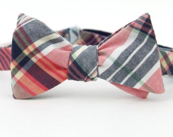 pink & navy freestyle bow tie
