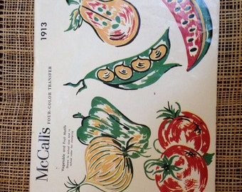 Vintage veggies and fruit transfer pattern