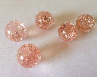14mm Peachy Pink Crackled Glass Marbles 10 pieces Cracked Baked Pendant Making