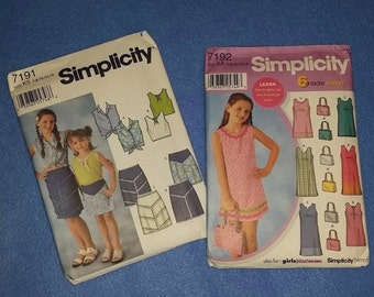 Uncut Simplicity Sewing Pattern - Girls Dresses and Purse or Tops and Skirts - 7191 or 7192 - sizes 7, 8, 10, 12, 14
