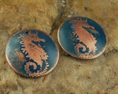 Etched Copper Metal Stamps, Earring Beads, SeaHorses #790 by CC Design