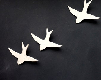 Original art wall sculpture Unique artwork Swallows Porcelain ceramic birds Wall art set in white porcelain ceramic