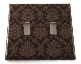 Double Switch Plate Wall Decor Decorative Switchplate  in  Black and Gray Damask (214D)