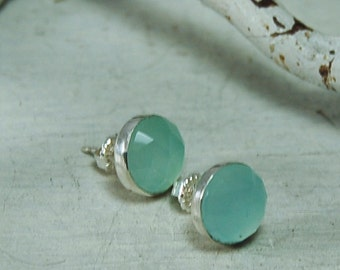 Aqua Chalcedony Posts Chalcedony Studs Earrings Sterling Silver