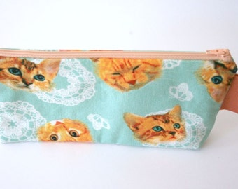 Kitsch Cats Zipper Bag Pouch Makeup Bag Japanese Fabric Pencil Case