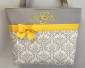 DAMASK Madison   in Gray  ... YELLOW  Accents  ... Tote ... Free Monogram