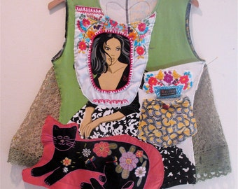 MEXICAN EMBROIDERY Fabric COLLAGE --Wearable Art Clothing - Senorita Frida Kahlo Dress - Altered Linens Applique  // mybonny folk artist