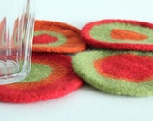 Hand-knit Felted Coasters - Orange, Green, Red