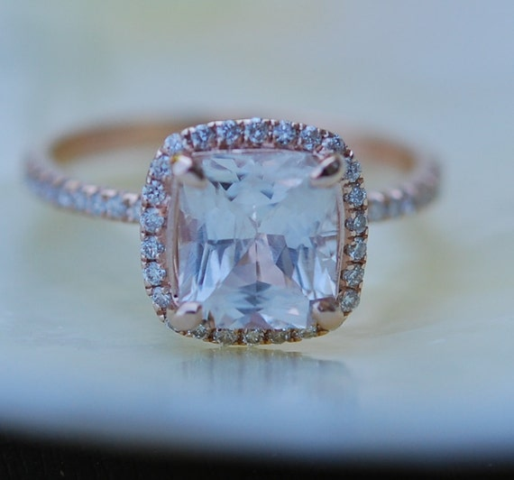 White sapphire engagement ring 14k rose gold diamond ring 3.03ct cushion sapphire