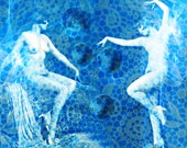 Art Deco Moon Dancers Print Instant Digital Download Photomontage Small to Big Poster Nude Pale to Dark Blue White Lace Full Moon Beams