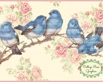 Bluebirds and pink roses Large digital download ECS buy 3 get one free single image printable
