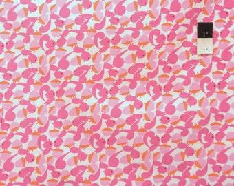 David Walker CDDW003 Get It Together Squirrels & Nuts Pink Cotton Corduroy Fabric 1 Yd