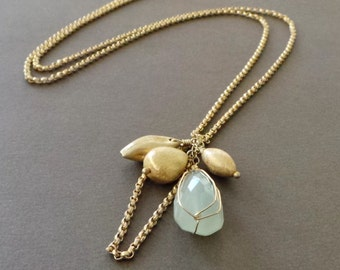 Chalcedony Drop Pendant Vermeil Long Necklace - Sample Sale