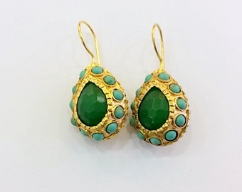 Green Jade and Turquoise Teardrop Earrings
