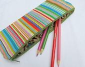 Slim pouch/ pencil case in multi stripe
