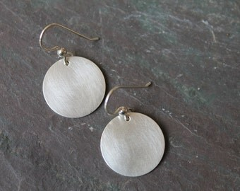 Brushed Sterling Silver Disc Earrings - Matte Finish - Circles - Everyday - Classic Modern - Handmade -