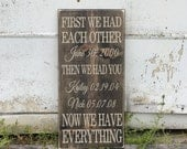 Fancy First We Had Each Other Then We Had You Now We Have Everything - With Custom Names & Dates - Wood Sign - Distressed Wooden Sign S114