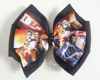 Time and Space Bow - Whovian Geek Pinwheel - No Slip Velvet Grip Hair Clip
